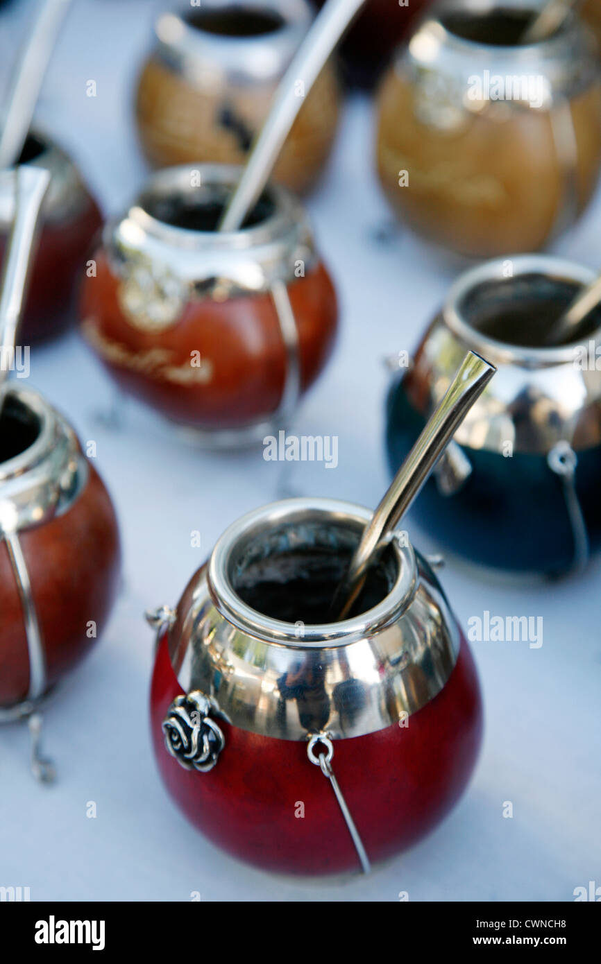 Mate cups for sale at the sunday Market in San Telmo, Buenos Aires, Argentina. - Stock Image
