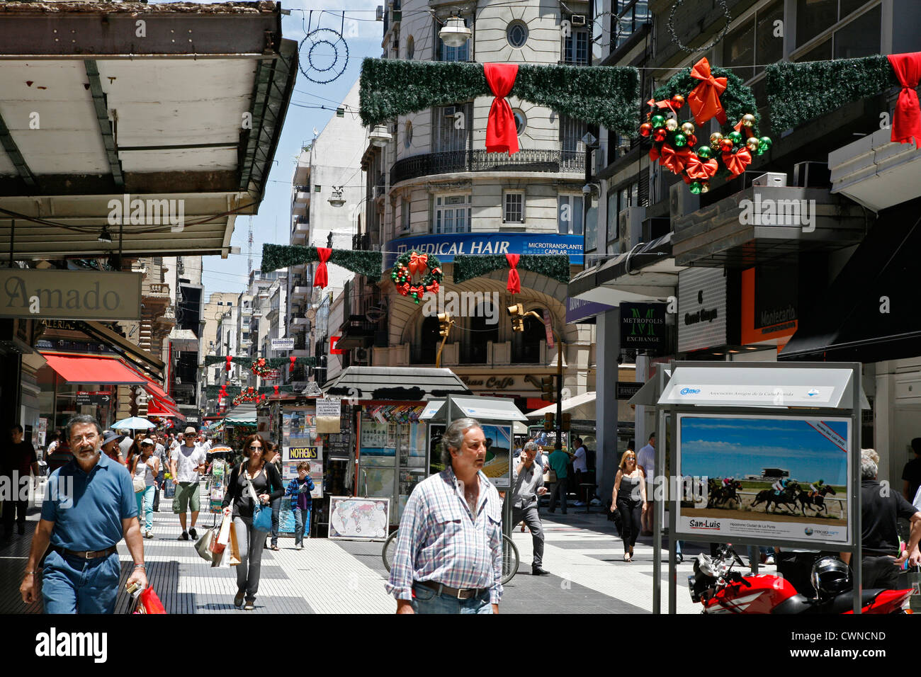 View over Florida Street the main pedestrian street in Buenos Aires, Argentina. - Stock Image