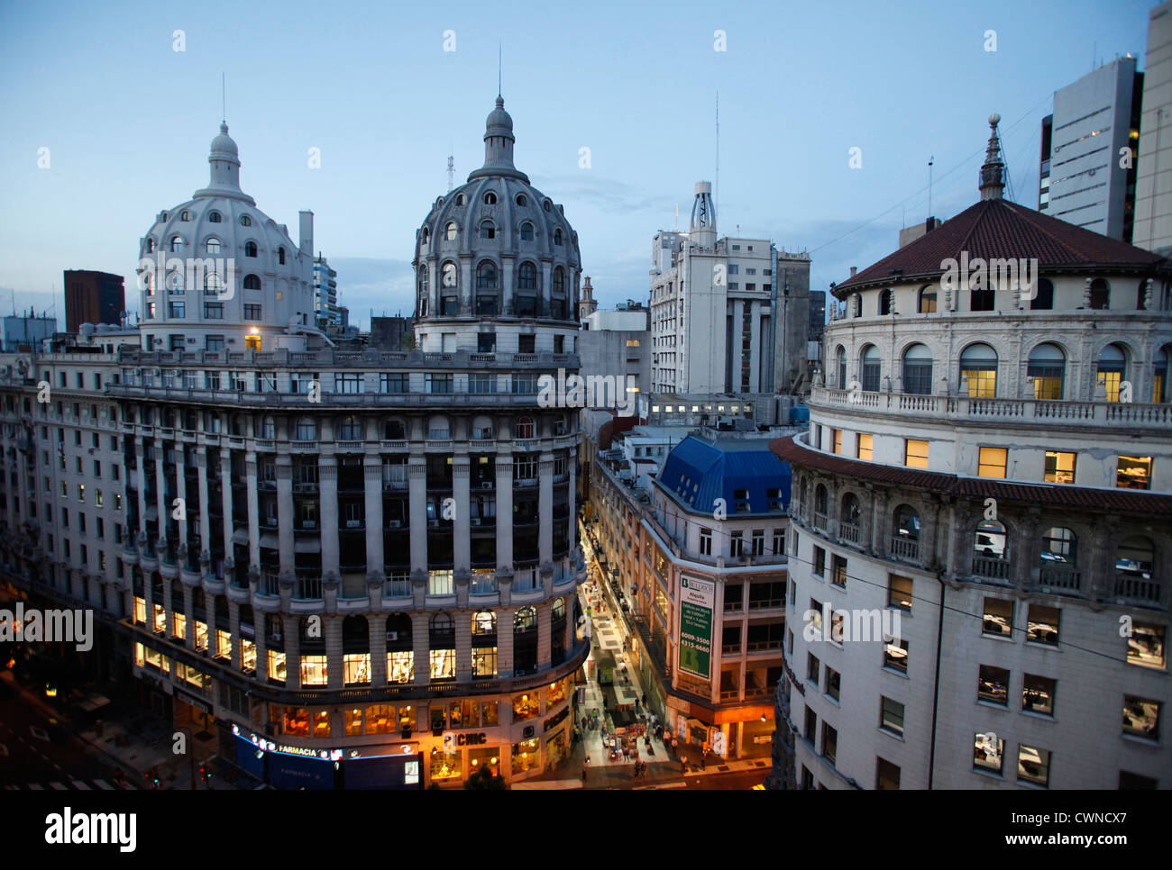 View over Calle Florida and 19th century buildings, Buenos Aires, Argentina. - Stock Image