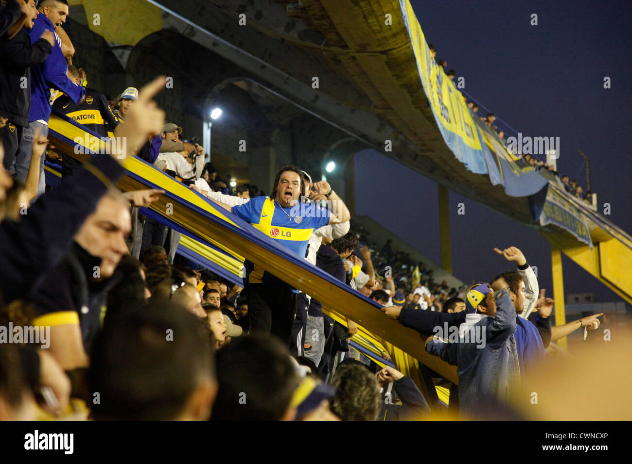 Football match of Boca Juniors at the Bombonera stadium, La Boca, Buenos Aires, Argentina. Stock Photo