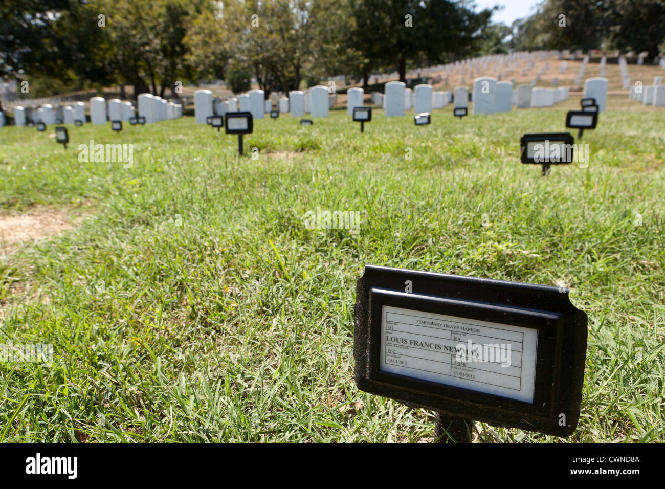 Temporary grave markers at Arlington National Cemetery - Washington, DC USA - Stock Image