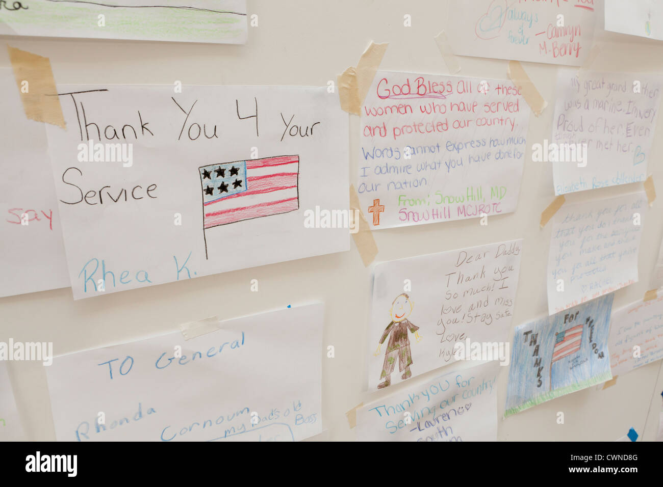 Appreciation messages to service men and women - Stock Image