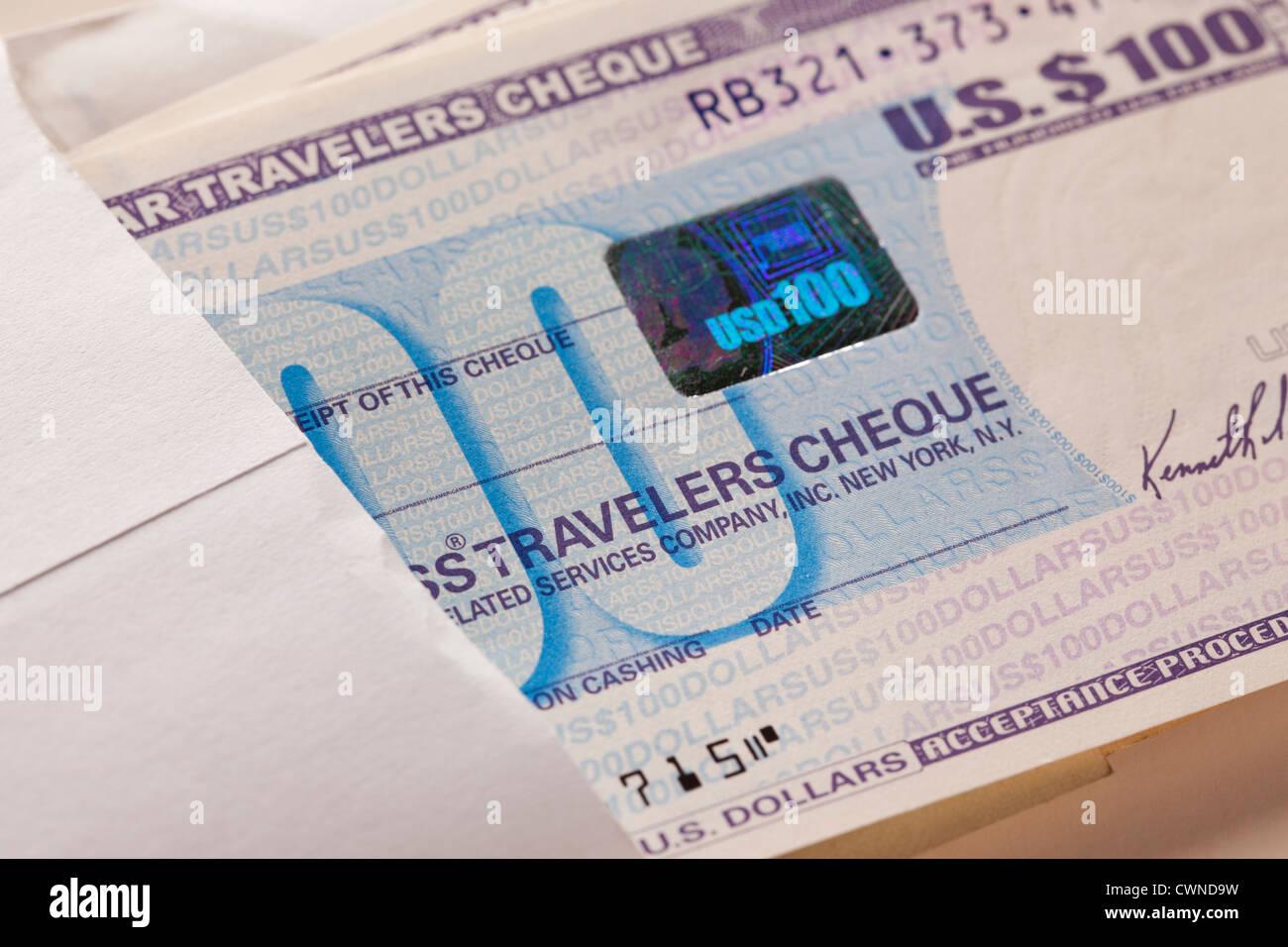 Travelers cheque - Stock Image