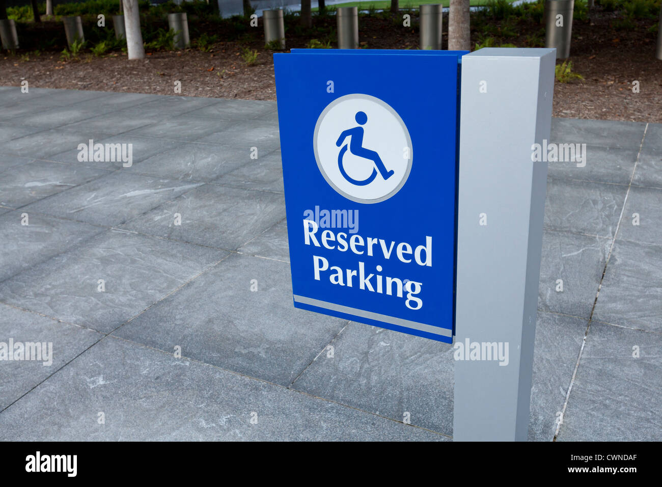 Disabled reserved parking sign - Stock Image