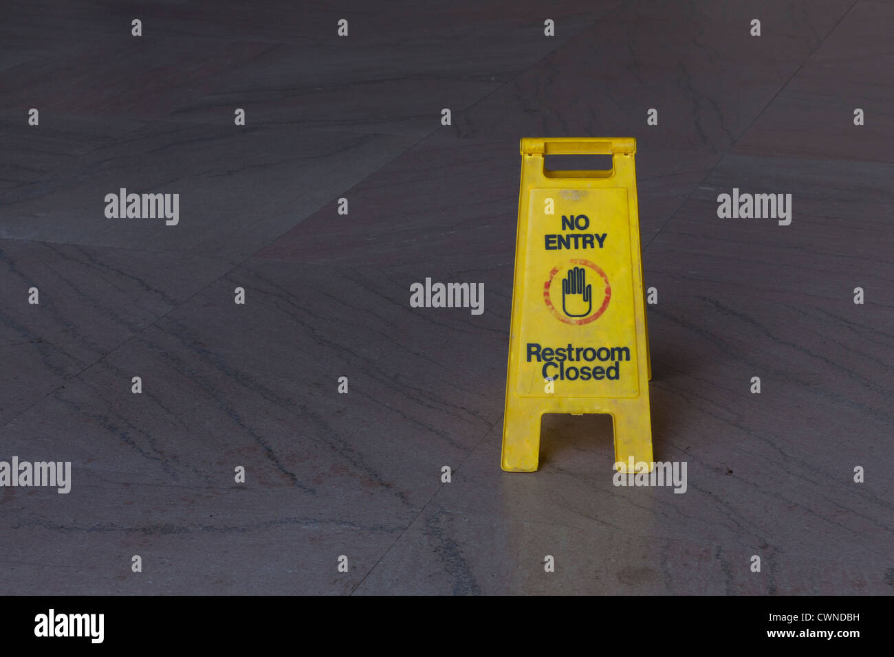 No Entry - Restroom Closed floor sign - Stock Image