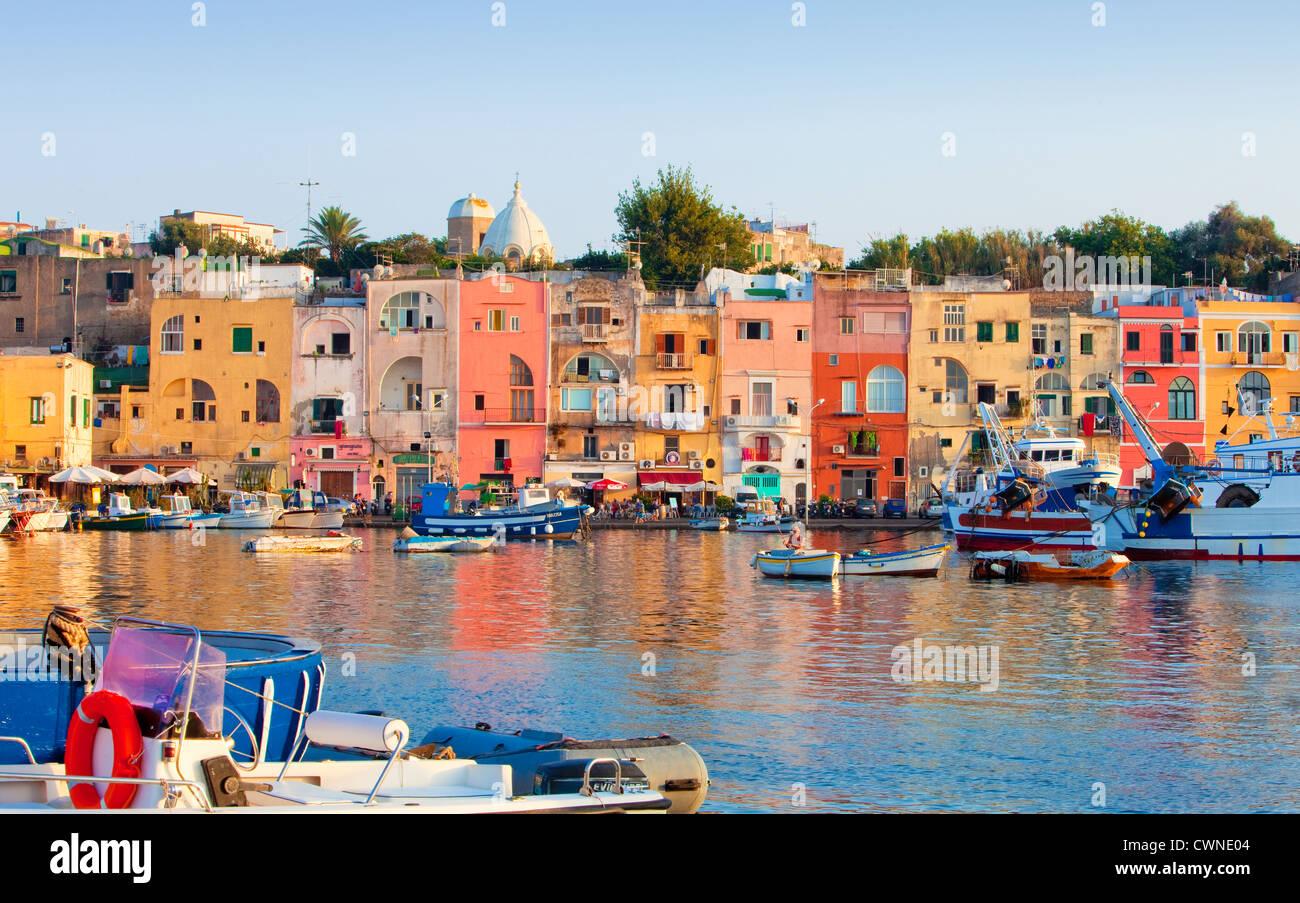 Marina Grande, Procida Island, Bay of Naples, Campania, Italy - Stock Image