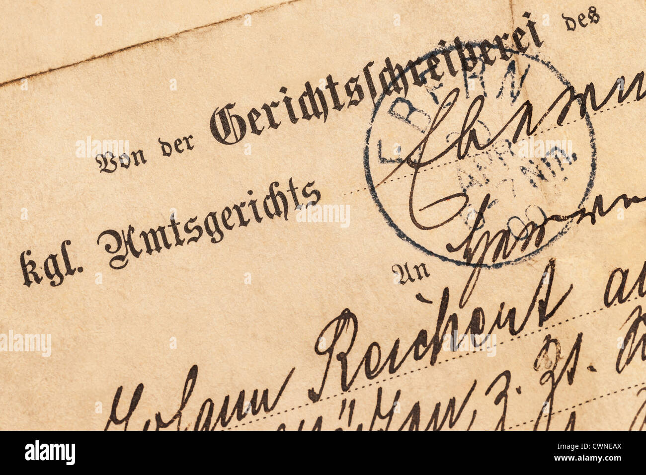 Old letter from an German royal local court from the year 1900 - Stock Image