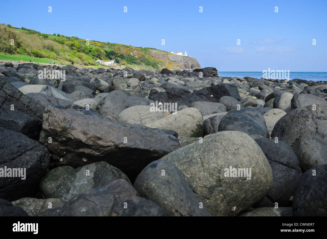 Beach along Blackhead path, County Antrim, Northern Ireland - Stock Image