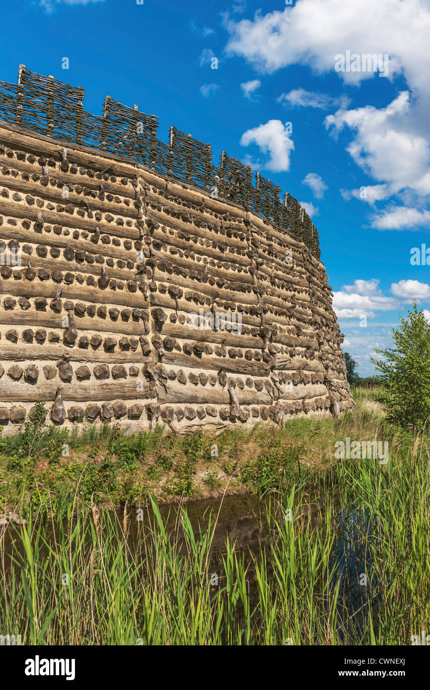 Slavic fort Raddusch is a faithful reproduction of a Slavic refuge fort near Vetschau/Spreewald, Brandenburg, Germany, - Stock Image