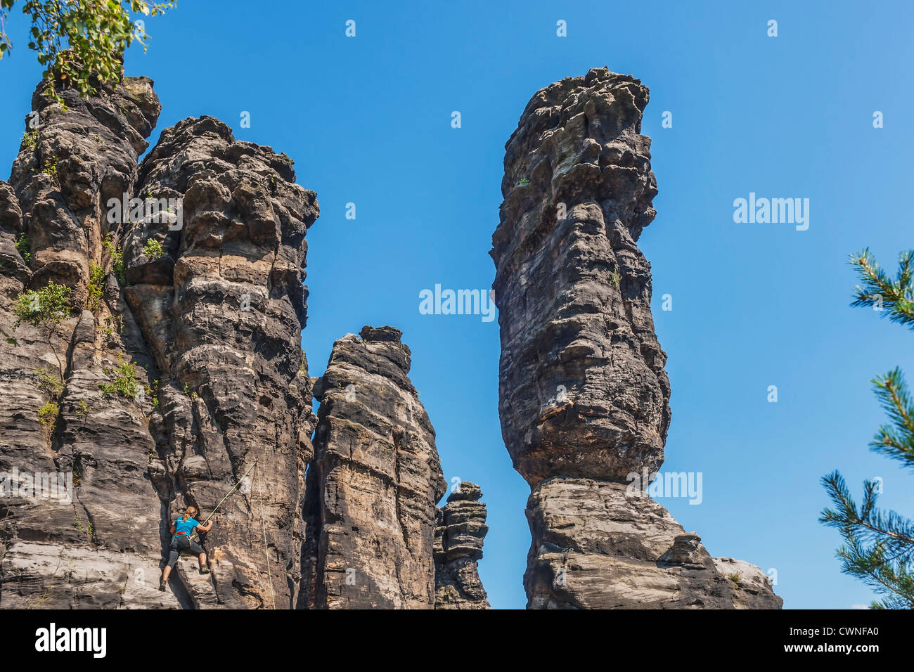 One of the pillars of Hercules, free-standing rock towers, Rosenthal Bielatal, near Dresden, Saxon Switzerland, Stock Photo