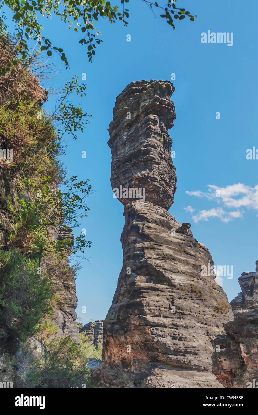 One of the pillars of Hercules, free-standing rock towers, Rosenthal Bielatal, near Dresden, Saxon Switzerland, - Stock Image