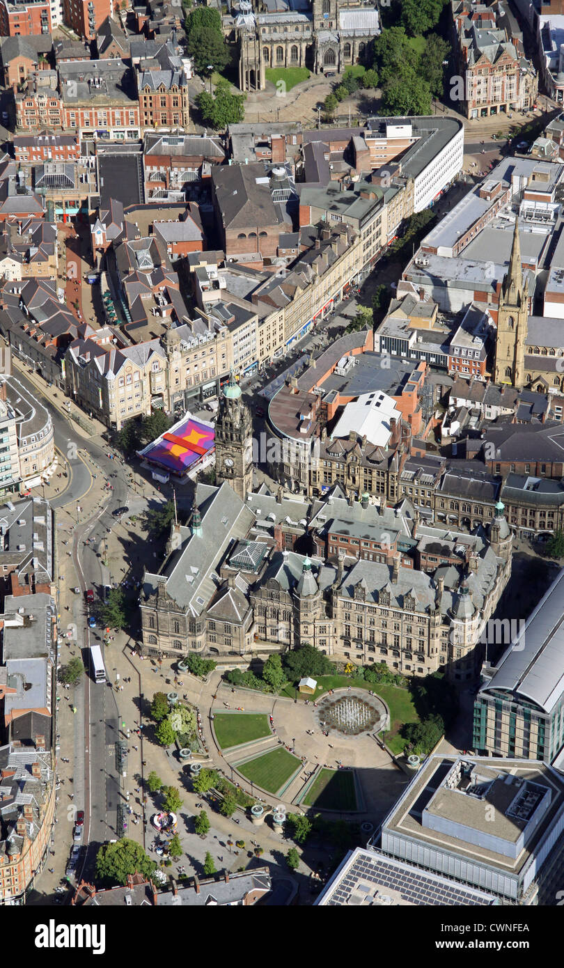 aerial view of Peace Gardens, Sheffield City Centre - Stock Image