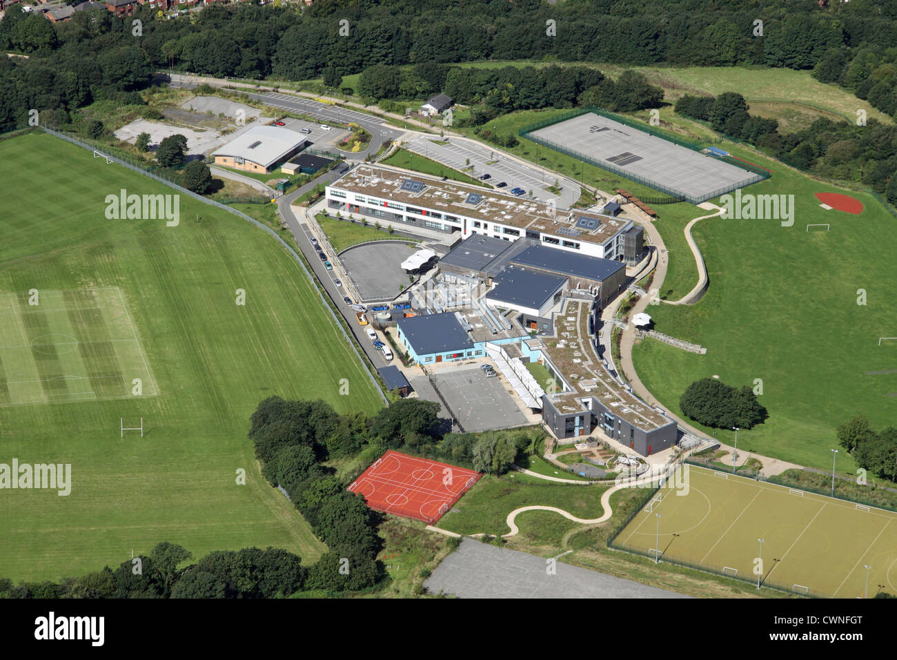 aerial view of Newfield Secondary School, Sheffield - Stock Image