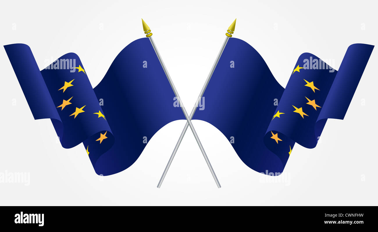 Isolated Twin European Union flags waving on white Stock Photo