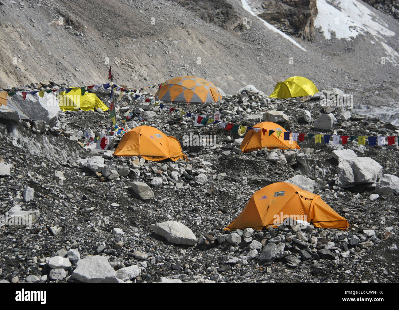 Everest Base Camp, 5364m, goal for many trekkers and starting point for climbers targeting Mt Everest, Khumbu Region, - Stock Image
