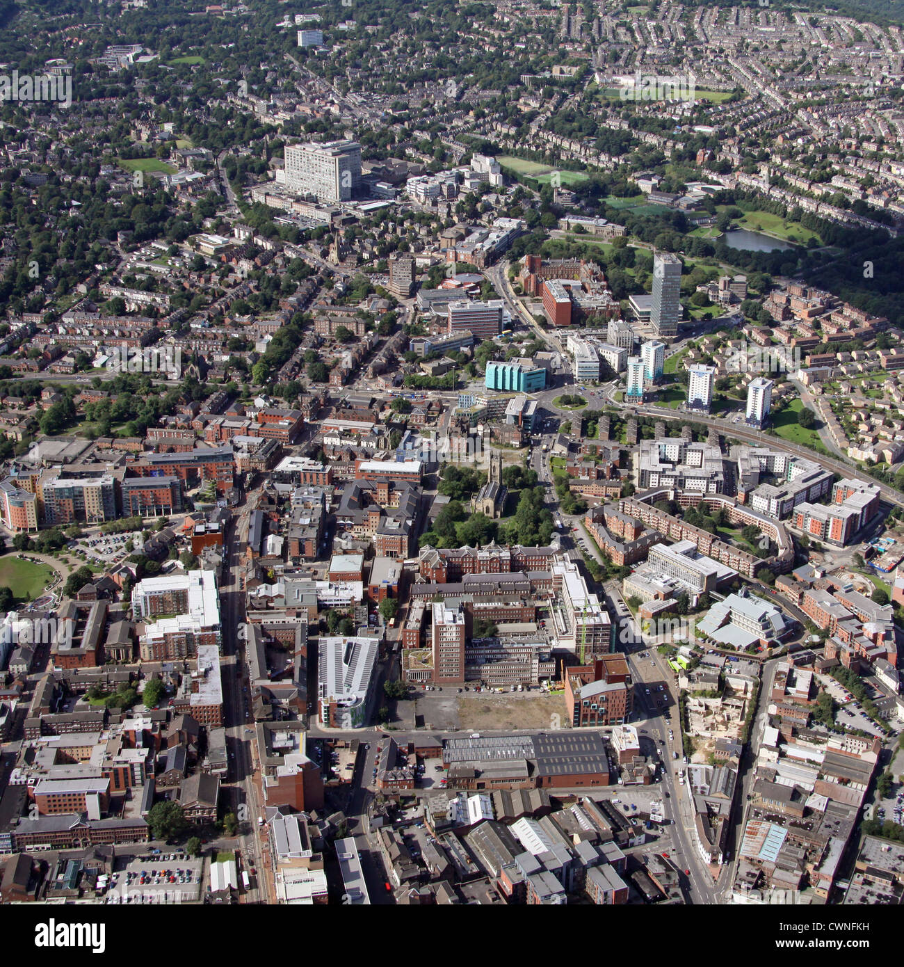 aerial view of Sheffield University from the east looking west - Stock Image