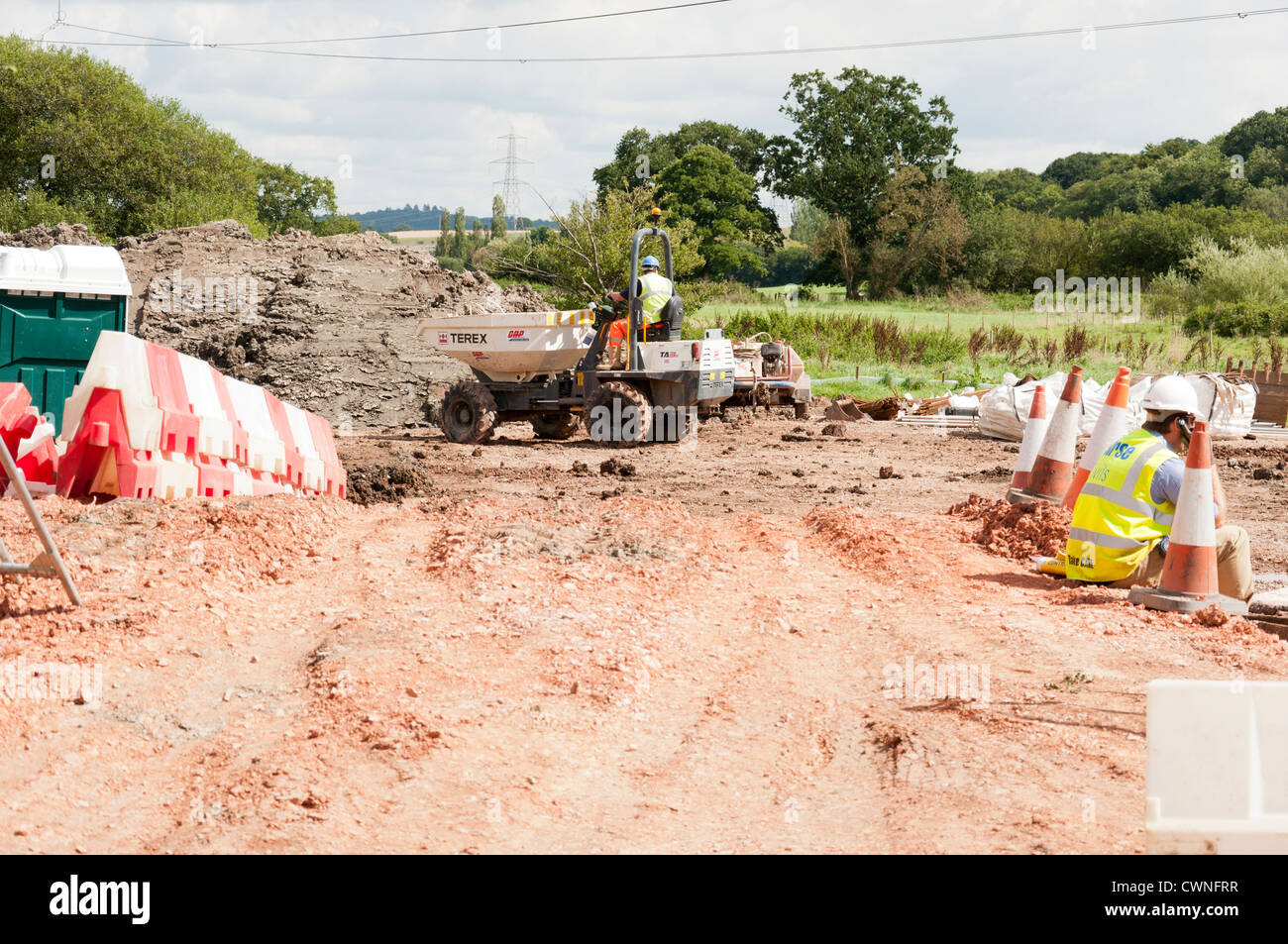 Flood defense civil engineering work being carried out by DEFRA Environment Agency at Stoke Canon, near Exeter Devon - Stock Image