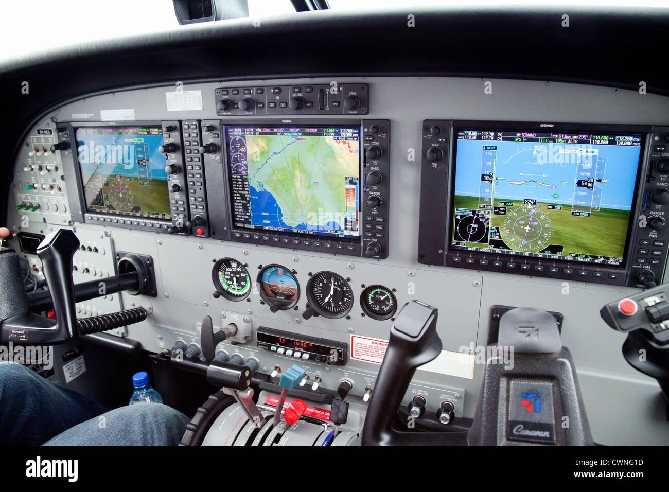 Cockpit of a modern Cessna Caravan light aircraft - Stock Image