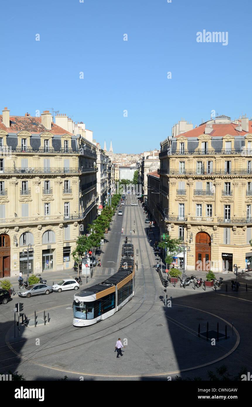 Tram and Tramway Along Rue Colbert Place Saadi-Carnot and Rue de la République Marseille or Marseilles Provence - Stock Image