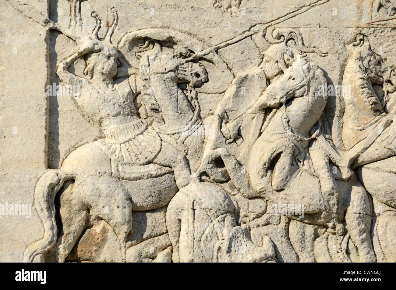 Roman Soldiers in Battle Scene on Mausoleum of Julii (c40BC) Glanum Roman Town City or Remains Saint Rémy de - Stock Image