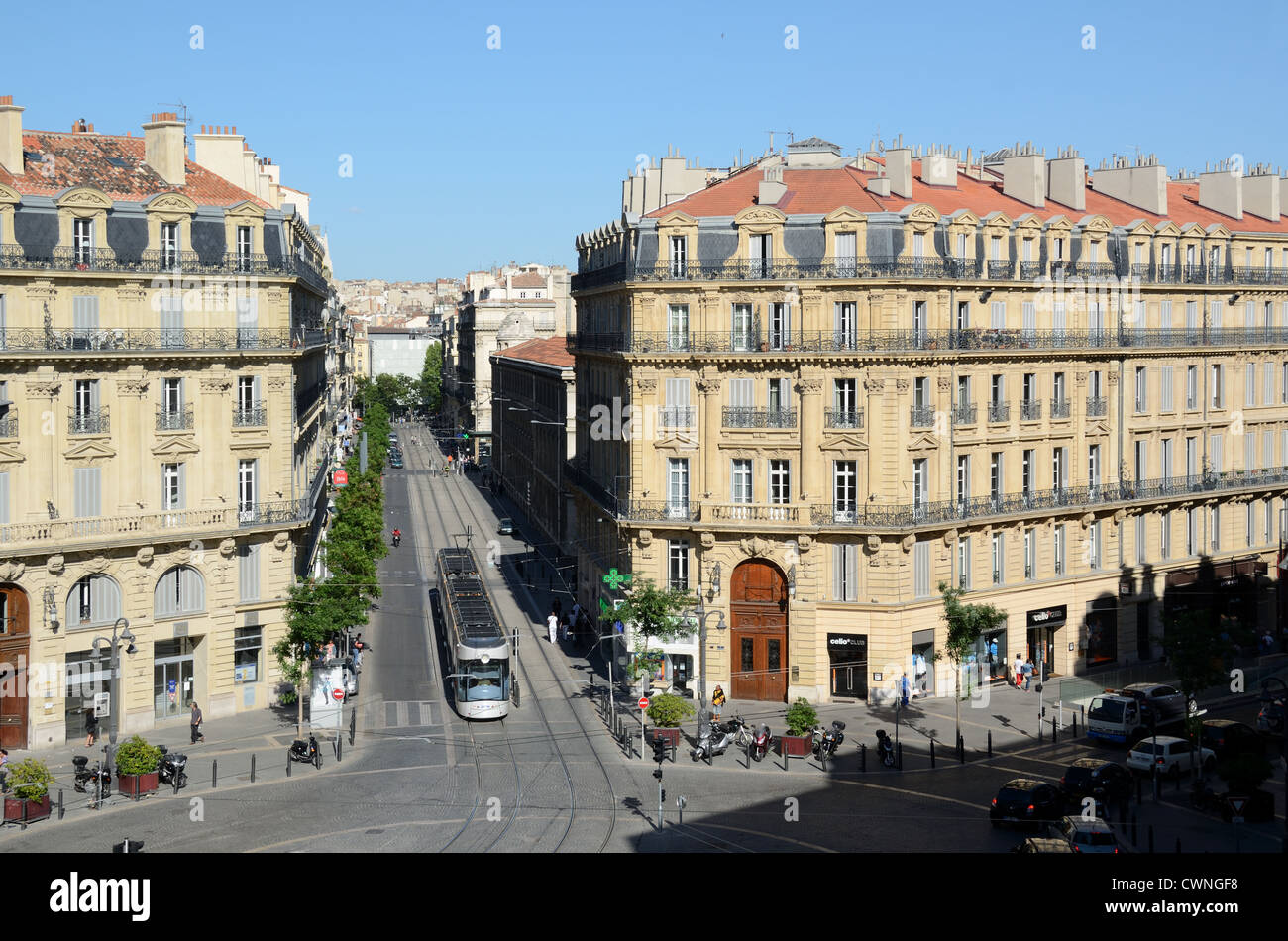 Tram and Tramway Running Along Rue Colbert and Rue de la République Marseille or Marseilles France - Stock Image