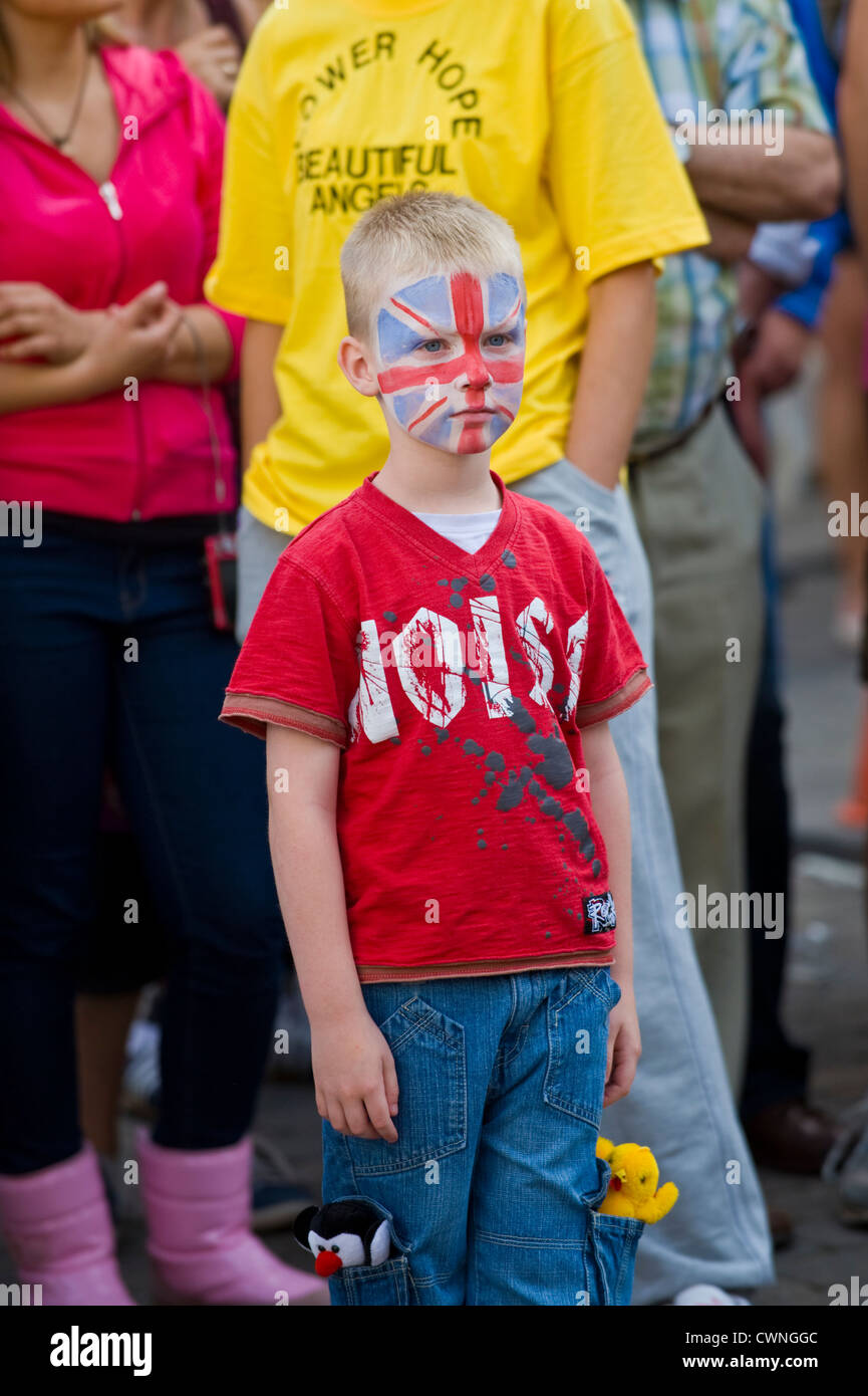 Young boy with Union Jack painted on his face at the annual World Championship Hop Pocket Race at Bromyard Herefordshire - Stock Image