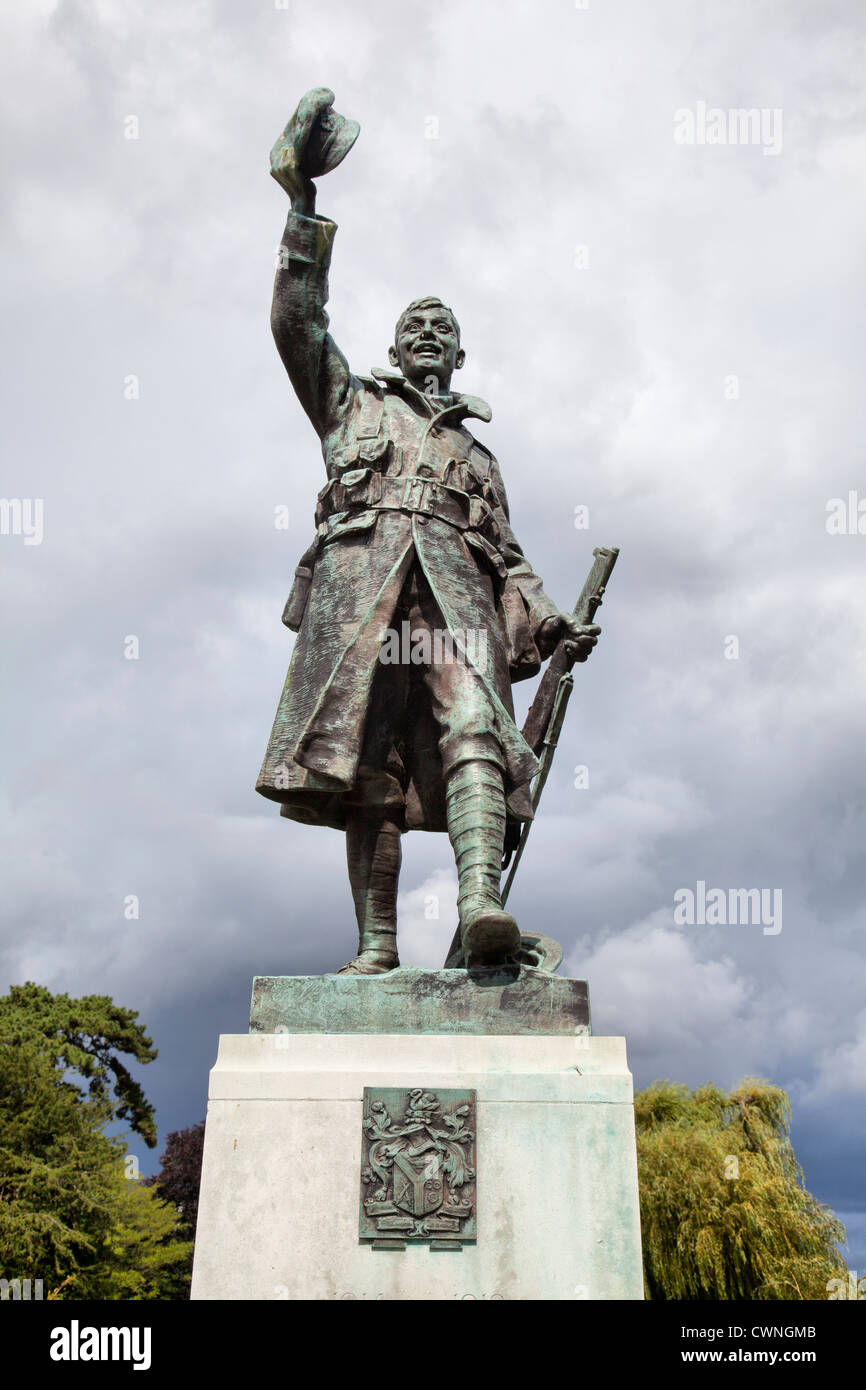 WWI Memorial Statue in Radnor Gardens in Twickenham - London UK - Stock Image