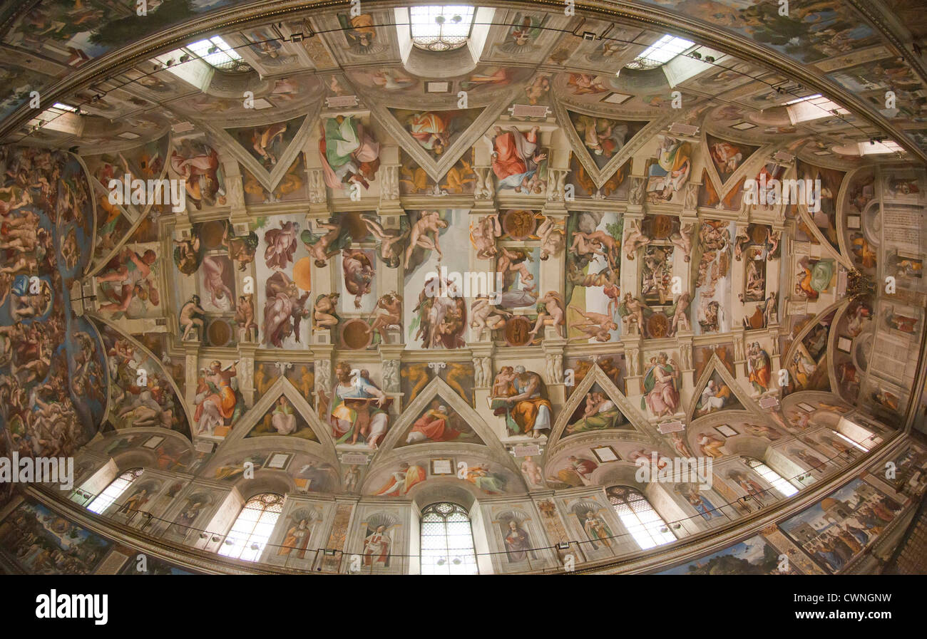 Michelangelou0027s The Last Judgement On The Ceiling Of The Sistine Chapel,  Vatican Museums, Rome