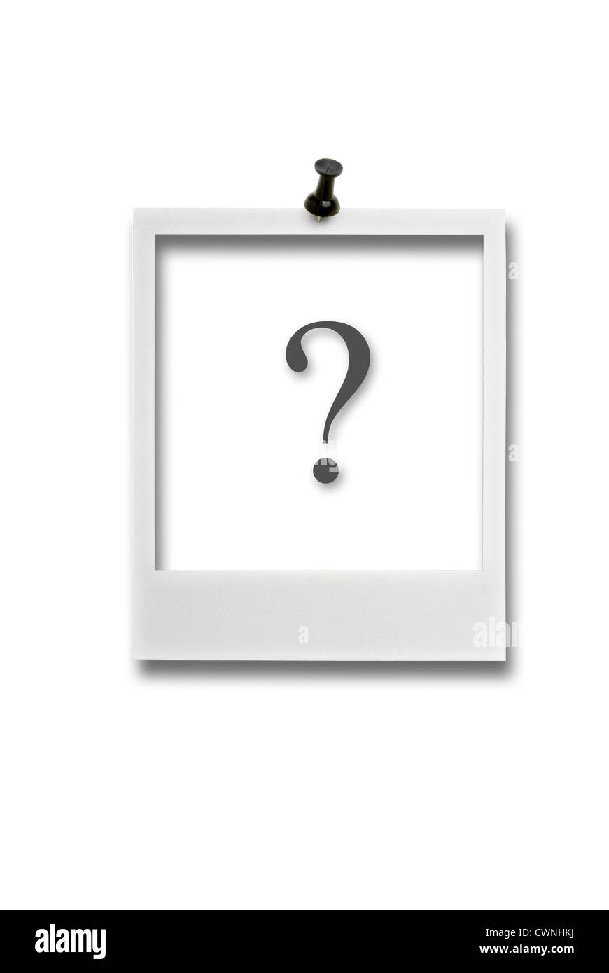 Empty polaroid frame with question mark and pin, isolated on 100% white background - Stock Image