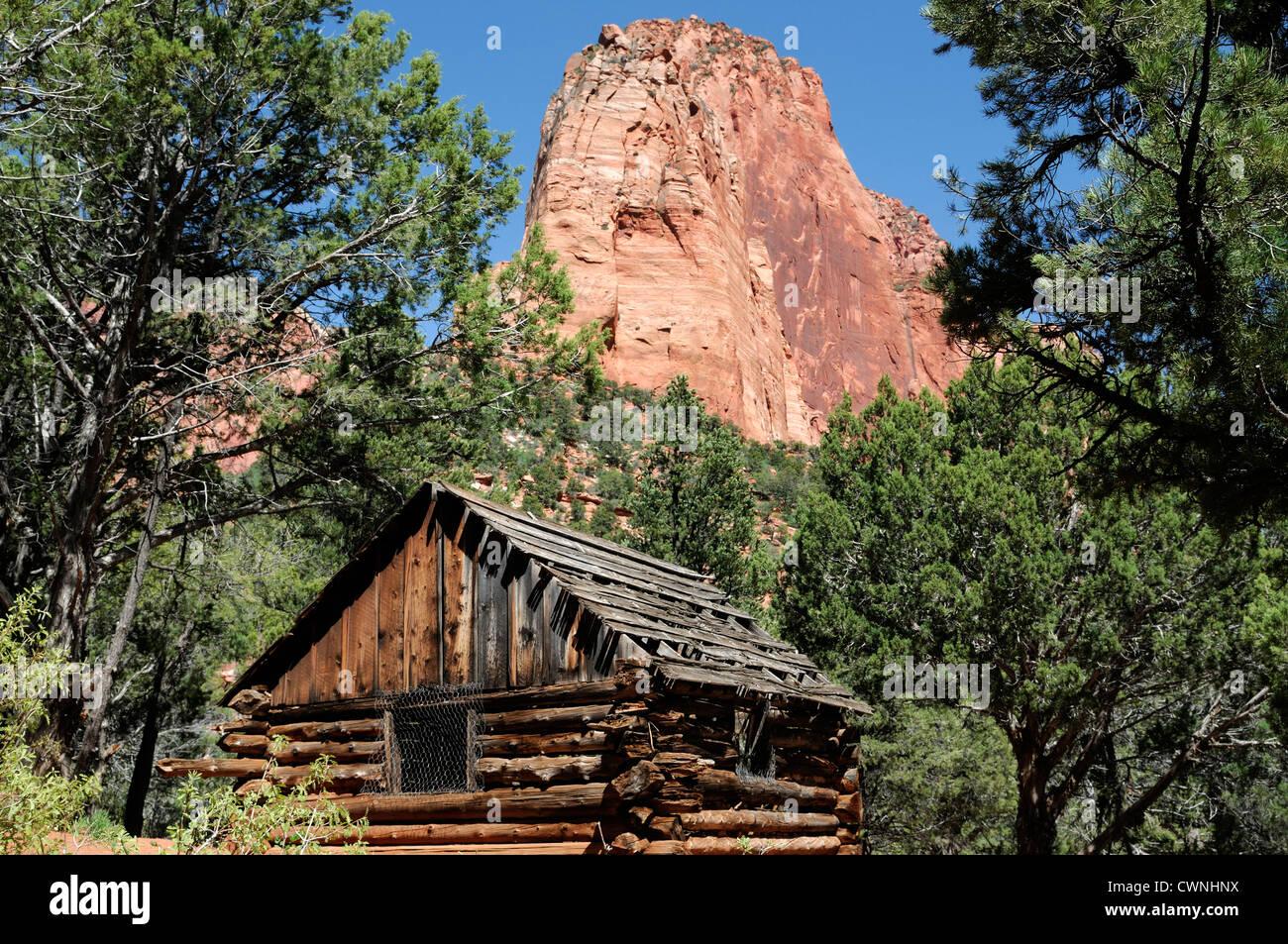 Larson Cabin along taylor creek Kolob Canyon Section Zion National Park Utah Stock Photo