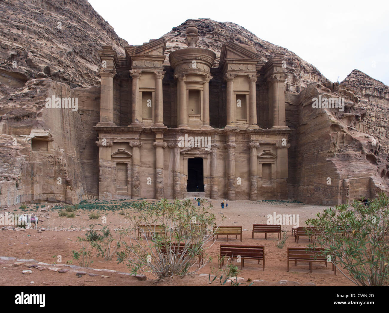 Petra historical and archaeological site in Jordan, here the Ad-Deir or monastry carved into the rock face - Stock Image