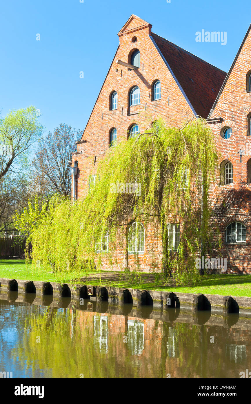 Architecture in Lubeck, Germany. Old houses reflection - Stock Image