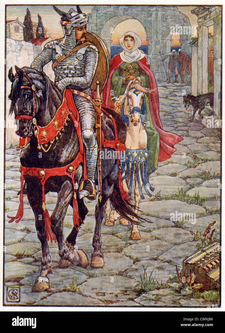 Sir Geraint tests Lady Enid's loyalty to him through many trials. Here they ride through a deserted Roman town. - Stock Image