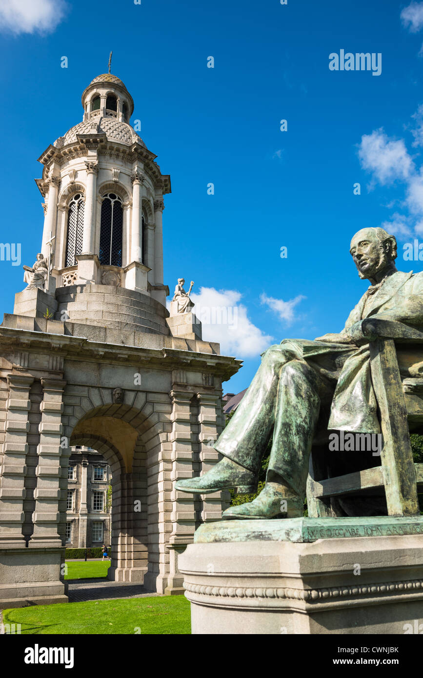 The Campanile with statue of William Lecky, Trinity College, Dublin, Ireland, Europe. - Stock Image