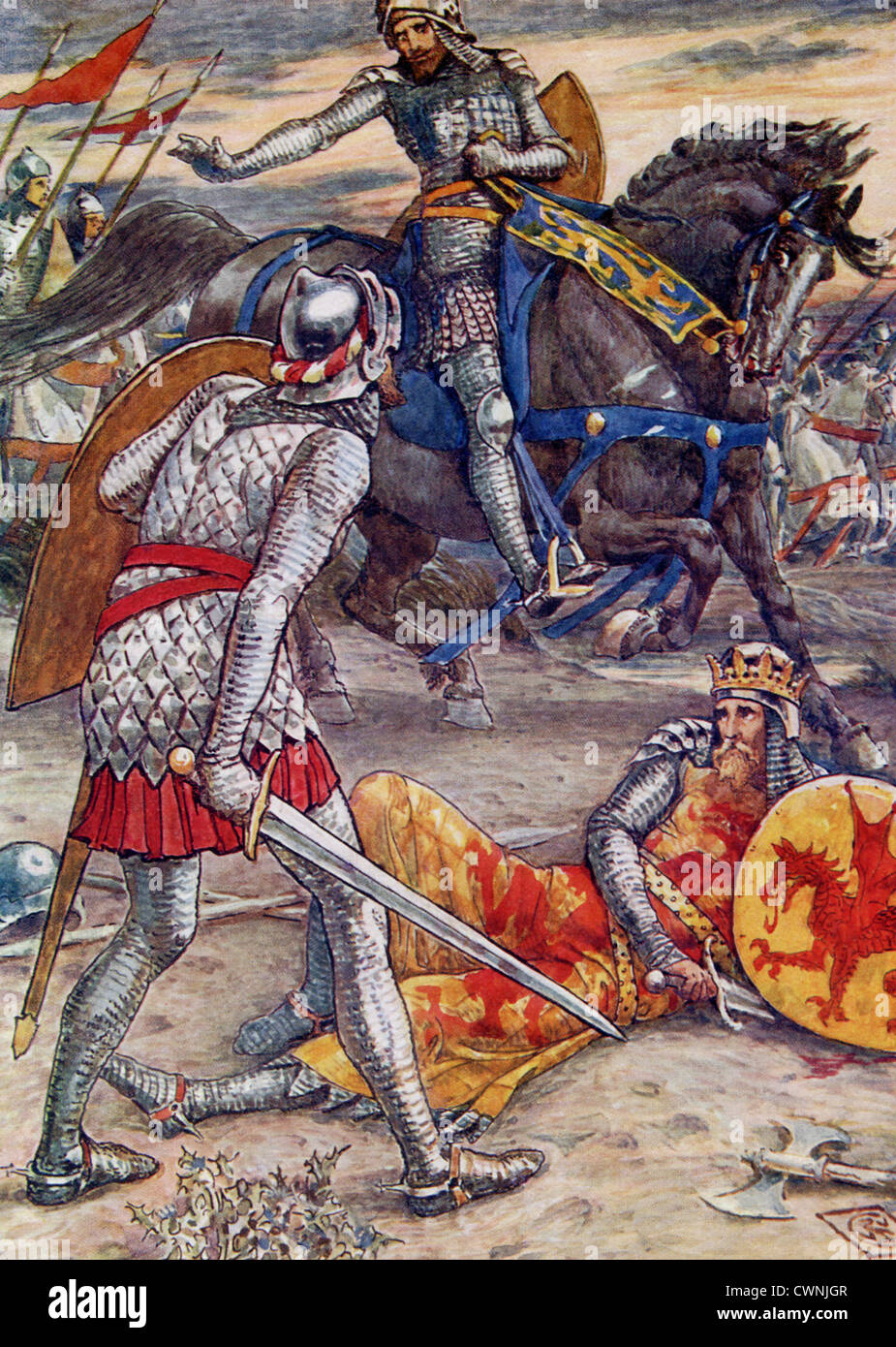 Sir Bors knocked Arthur from his horse and was about to slay him when Lancelot, even though he allies with Bors, - Stock Image