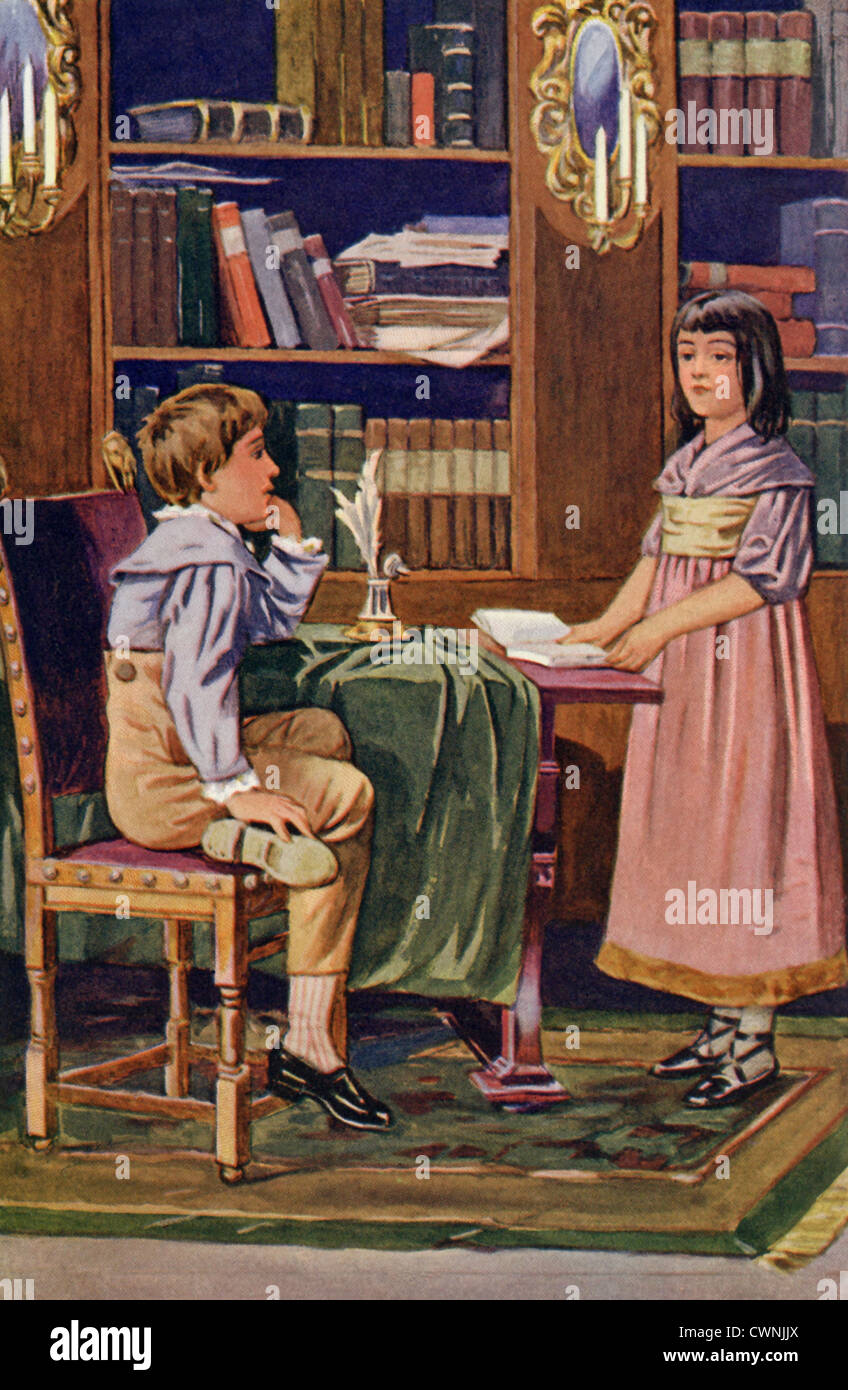 Maggie and Tom Tulliver from from 'The Mill on the Floss,' a novel published in 1860 by English author George - Stock Image