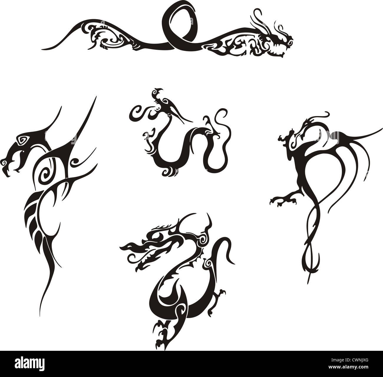 Dragons Tattoos Designs Stock Photos & Dragons Tattoos Designs Stock ...
