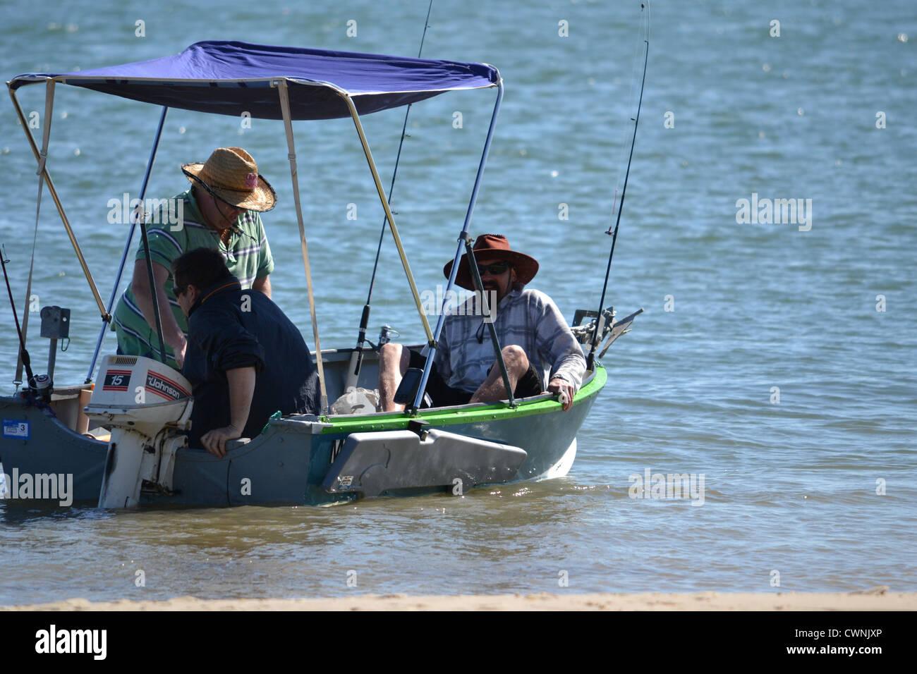 Three men going fishing in their tinny Stock Photo: 50262990 - Alamy