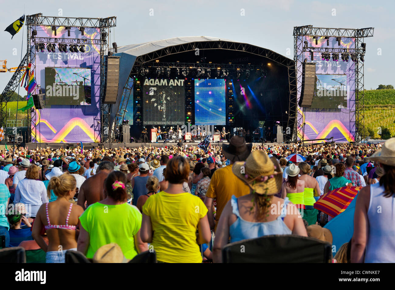 Huge crowd of festival goers in front of the stage at the Rewind Festival Henley on Thames 2012. JMH6056 - Stock Image