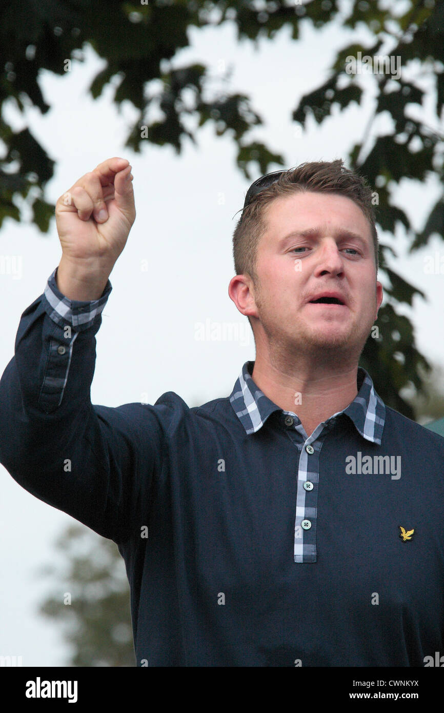 EDL leader Stephen Yaxley-Lennox aka Tommy Robinson outside Walthamstow town hall during attempted EDL rally. - Stock Image