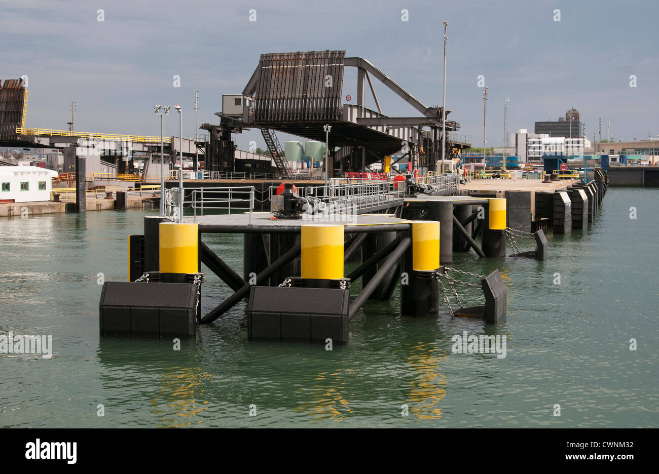 Continental Ferryport linkspan for RoRo ferries Portsmouth Harbour England UK Stock Photo