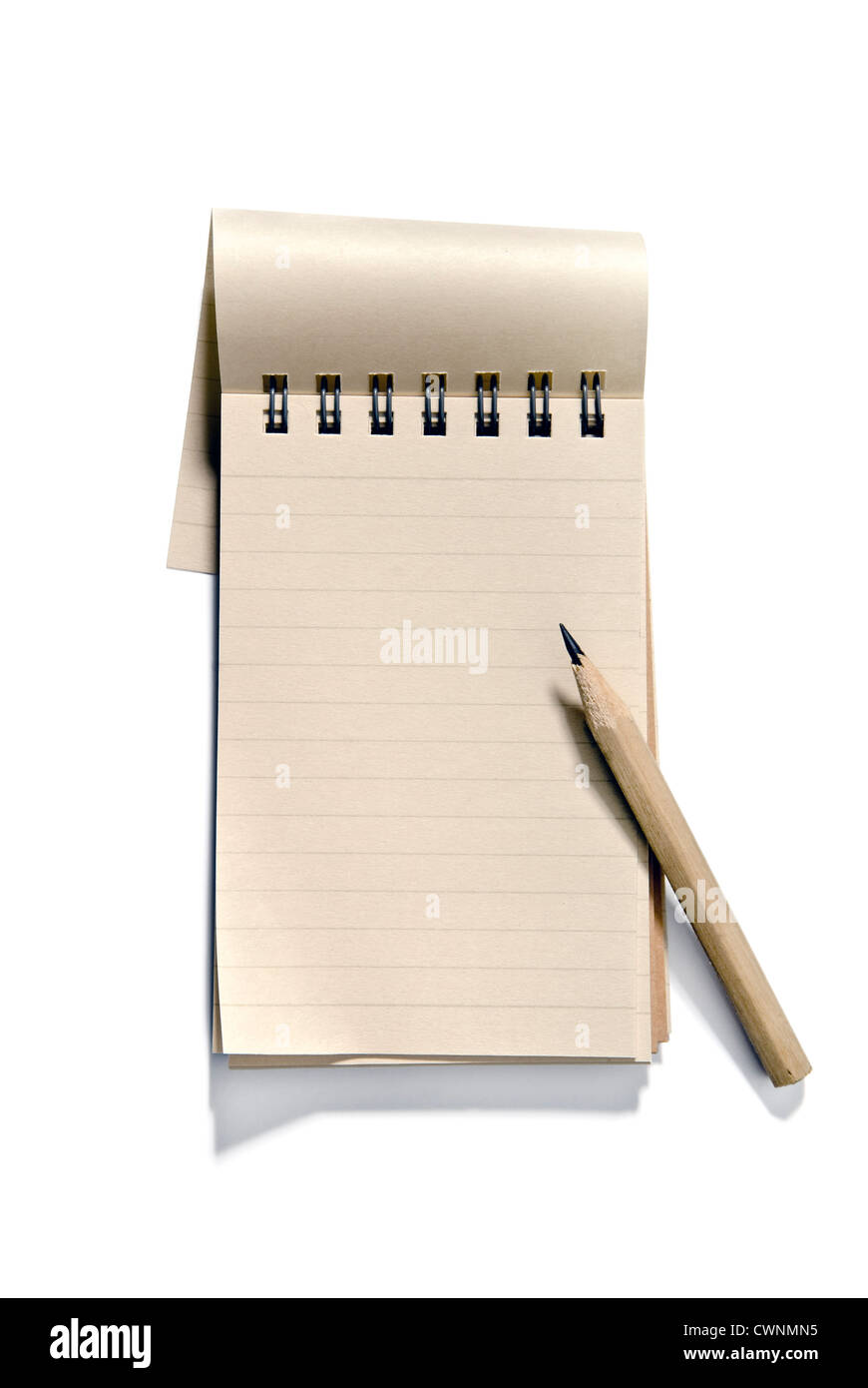 Notepad with a pencil, blank, isolated on 100% white background - Stock Image