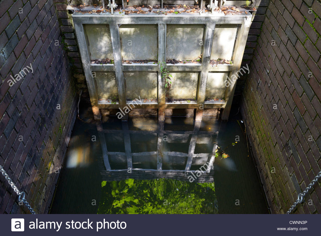 Flapper gate valve on the River Allen, Wimborne Minster, Dorset England - Stock Image