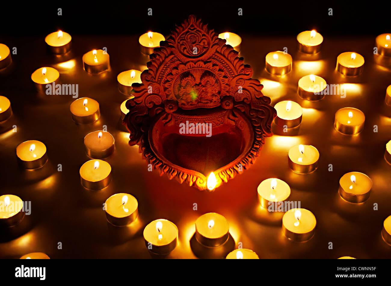 Diwali Diyas Online Shopping India: Diya's Are Burning On Diwali Festival India Stock Photo