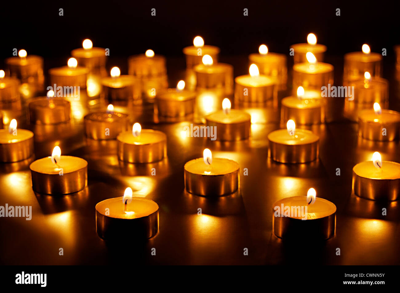 Candles are burning on Diwali Festival India - Stock Image