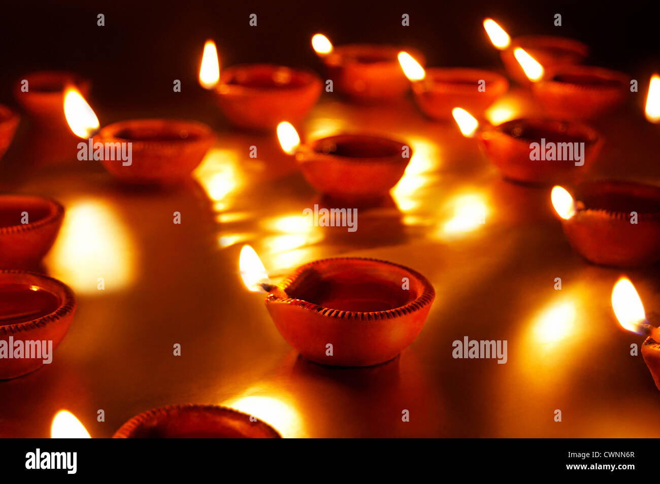 Diya's are burning on Diwali Festival India - Stock Image