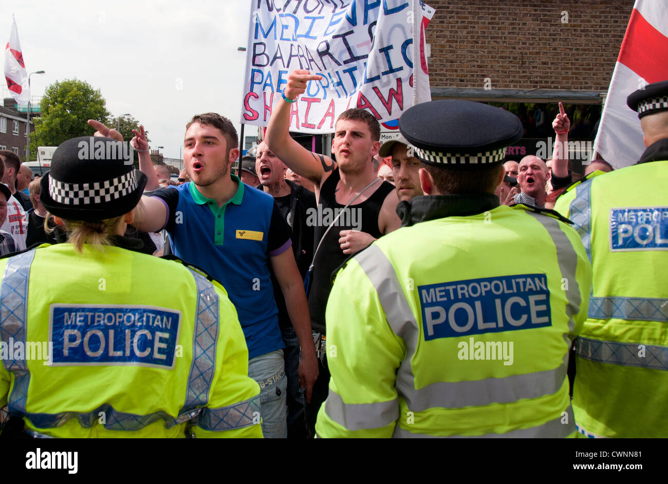 The racist   Islamophobic English Defence League (EDL) march through the center of Walthamstow North London - Stock Image