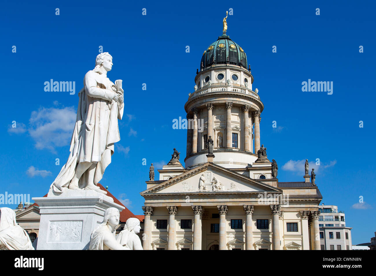 Europe, Germany, Berlin, Statue of Friedrich Schiller in the Gendarmenmarkt - Stock Image