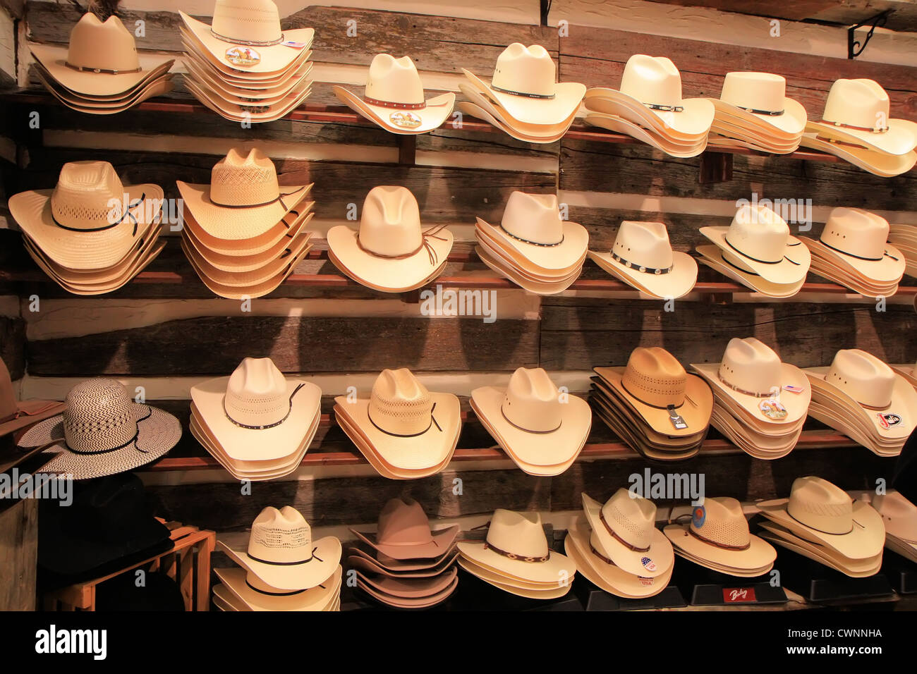 d53d22b01283f Display of straw Stetson cowboy hats in row