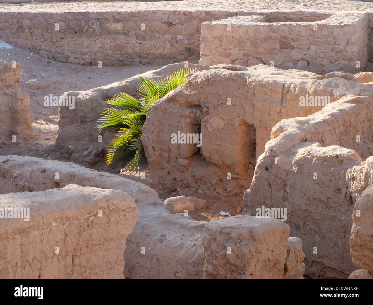 Not much is there to see at the  archaeological site in Aqaba Jordan with remnants of late roman church - Stock Image